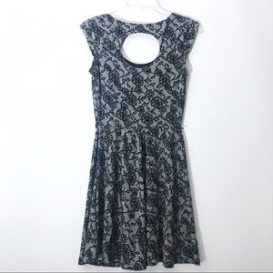 Candie's Black White Floral Lace Cocktail Dress